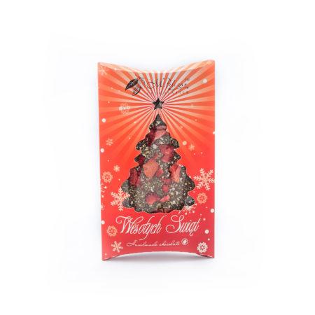 Świąteczna czekolada gorzka 70,4% z pigwą i truskawkami 85g